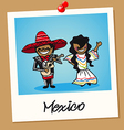 Mexico travel polaroid people vector image vector image