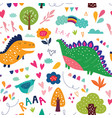 Dinosaurs in nature vector image