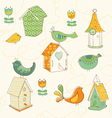 Bird houses doodles vector image