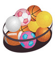 different game balls in the big basket isolated vector image
