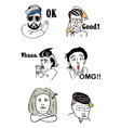 Faces of funny comic people vector image
