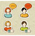 Social media user profile button icons set vector image