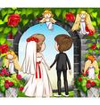 Wedding couple at the rose garden vector image