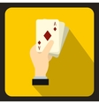 Hand holding playing cards icon flat style vector image