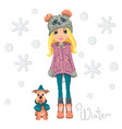 cute girl with dog vector image vector image