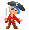 Cartoon captain pirate holding a sword vector image