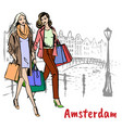 friends with shopping bags vector image