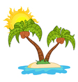 Island With Two Palm Tree vector image