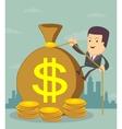 Man and money bag Money making Bank deposit vector image