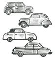set of cute hand-drawn retro cars vector image