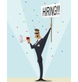 Vintage businessman searching candidate for job vector image