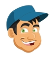 face of man wearing hat icon vector image