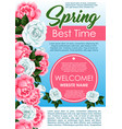 spring season floral poster with rose flowers vector image