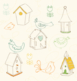 birds and bird houses doodles vector image vector image