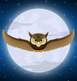 Owl flying with full moon and star background vector image
