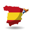 spain map and catalonia flag independence vector image