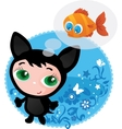 Cute funny kitten vector image vector image