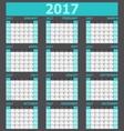 Calendar 2017 week starts on Sunday light green vector image vector image