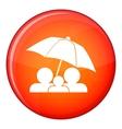 Family under umbrella icon flat style vector image