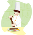 Chef is pass the pepper on steak vector image vector image