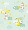seamless baby on a star unicorn background pattern vector image
