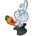 cute bunny sitting in magic hat and holding carrot vector image