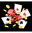 Dices aces and coins vector image