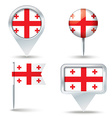 Map pins with flag of Georgia vector image