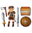 Female viking with weapons and chest vector image