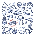 Hand drawn ink cartoon Alien space set vector image