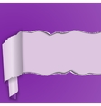 Purple background with a torn strip of paper vector image