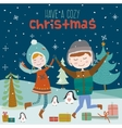 Christmas card with smiling girls and boys vector image