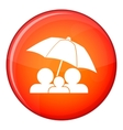 Family under umbrella icon flat style vector image