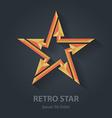 Flat color 3d Retro star logo Sport international vector image
