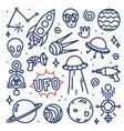 Hand drawn ink cartoon Alien space set vector image