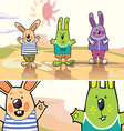 Three Rabbits in a Desert vector image