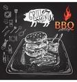 Delicious juicy burger Sketch vector image