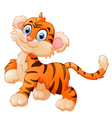 cute and shy tiger cub is smiling vector image