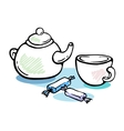 Tea and candies still life vector image