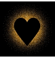 Black heart on the golden glittering background vector image