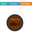 Flat design icon of fishing line vector image