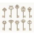 antique keys icon set vector image