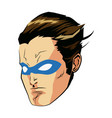 face super hero comic angry expression character vector image
