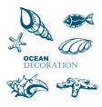 Set of ocean decoration vector image