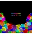 Transparent color drops on black background vector image