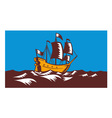 Tall Sailing Ship Retro Woodcut vector image