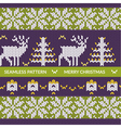Seamless christmas knitting pattern with deers vector image