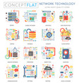 Infographics mini concept network technology icons vector image