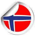 norway flag in sticker design vector image vector image