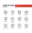 Animals - line design icons set vector image